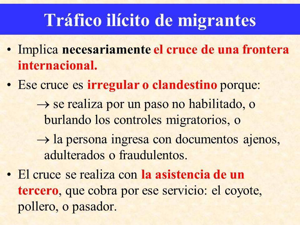 Implica necesariamente el cruce de una frontera internacional. Ese cruce es irregular o clandestino porque: se realiza por un paso no habilitado, o bu