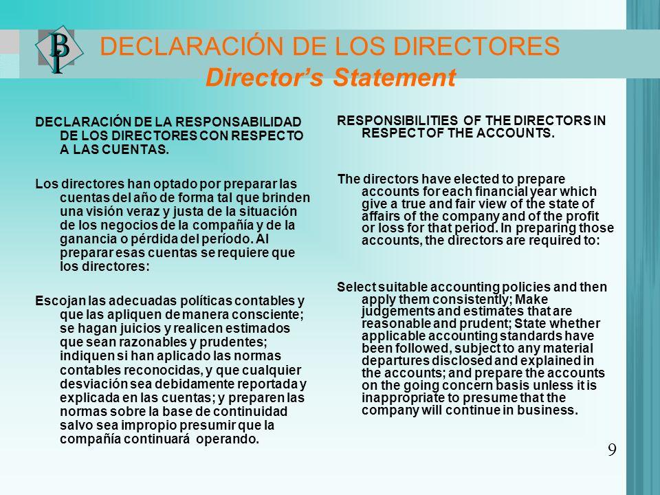 DECLARACIÓN DE LOS DIRECTORES Directors Statement DECLARACIÓN DE LA RESPONSABILIDAD DE LOS DIRECTORES CON RESPECTO A LAS CUENTAS.