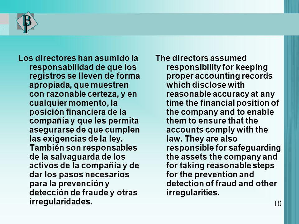 Los directores han asumido la responsabilidad de que los registros se lleven de forma apropiada, que muestren con razonable certeza, y en cualquier momento, la posición financiera de la compañía y que les permita asegurarse de que cumplen las exigencias de la ley.
