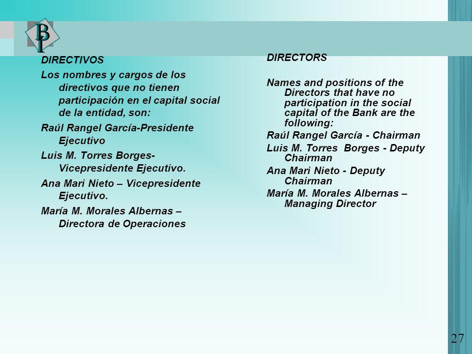 DIRECTIVOS Los nombres y cargos de los directivos que no tienen participación en el capital social de la entidad, son: Raúl Rangel García-Presidente Ejecutivo Luis M.