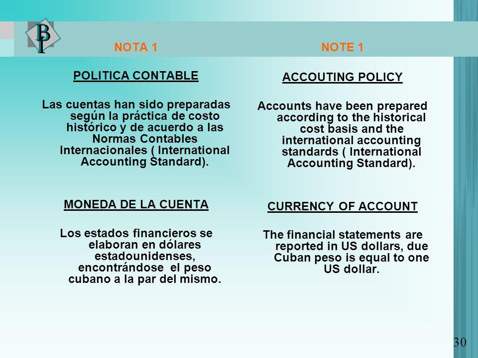 NOTA 1 POLITICA CONTABLE Las cuentas han sido preparadas según la práctica de costo histórico y de acuerdo a las Normas Contables Internacionales ( In