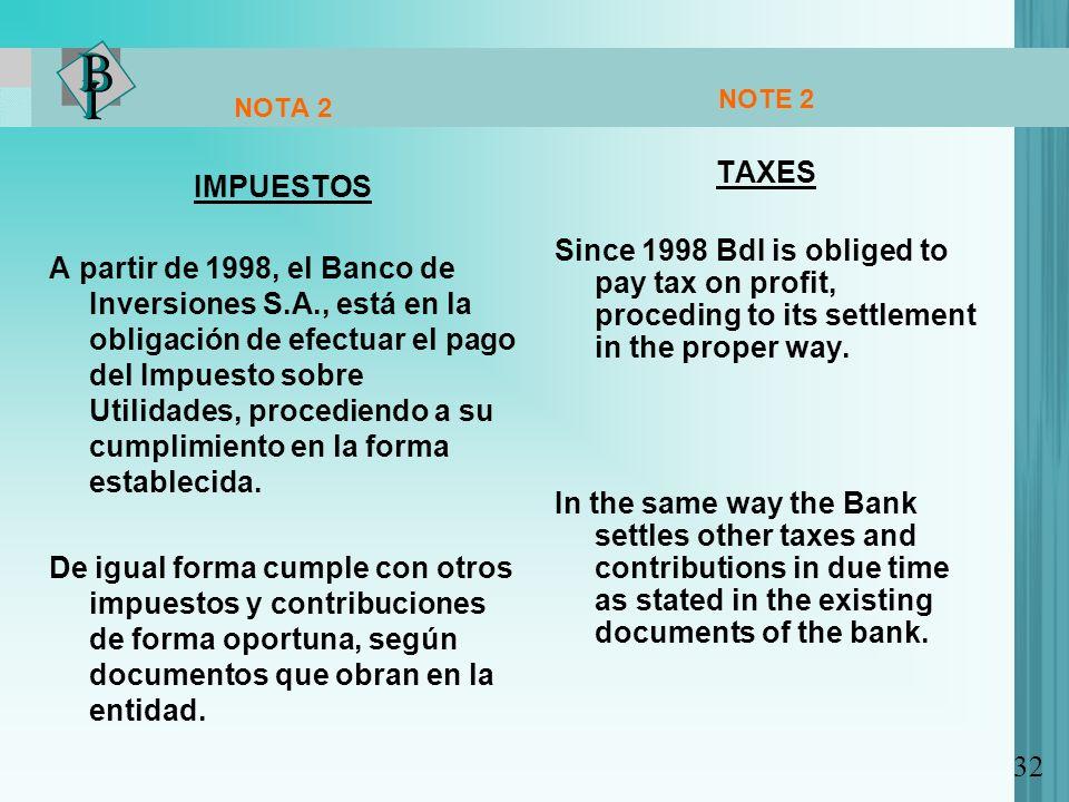 NOTA 2 IMPUESTOS A partir de 1998, el Banco de Inversiones S.A., está en la obligación de efectuar el pago del Impuesto sobre Utilidades, procediendo a su cumplimiento en la forma establecida.