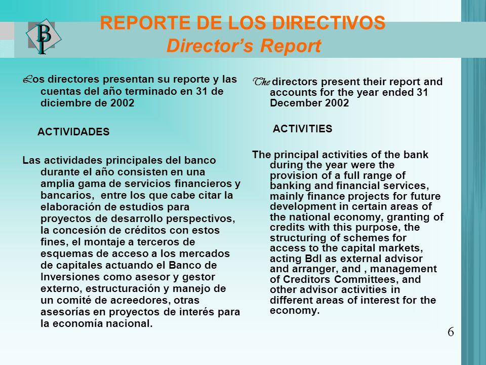 REPORTE DE LOS DIRECTIVOS Directors Report L os directores presentan su reporte y las cuentas del año terminado en 31 de diciembre de 2002 ACTIVIDADES