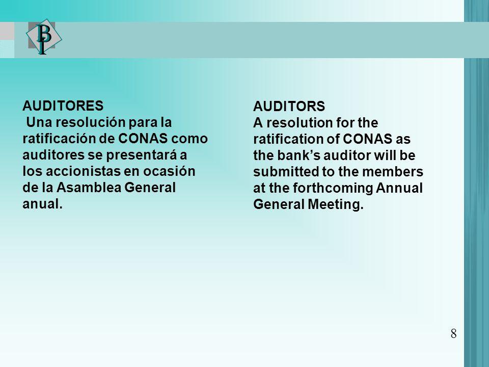 8 AUDITORES Una resolución para la ratificación de CONAS como auditores se presentará a los accionistas en ocasión de la Asamblea General anual. AUDIT