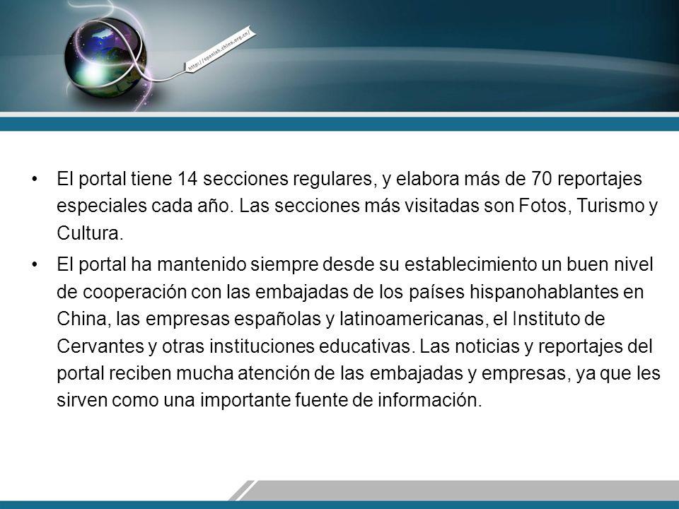 El portal tiene 14 secciones regulares, y elabora más de 70 reportajes especiales cada año.