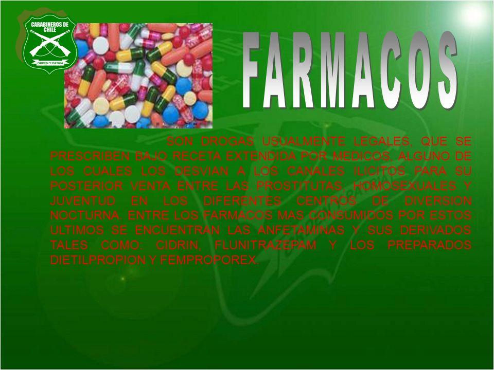 SON DROGAS USUALMENTE LEGALES, QUE SE PRESCRIBEN BAJO RECETA EXTENDIDA POR MEDICOS, ALGUNO DE LOS CUALES LOS DESVIAN A LOS CANALES ILICITOS PARA SU PO