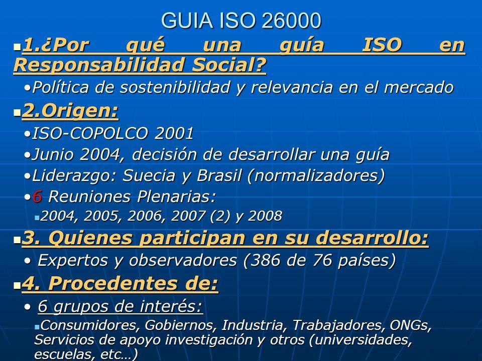 GUIA ISO 26000 1.¿Por qué una guía ISO en Responsabilidad Social? 1.¿Por qué una guía ISO en Responsabilidad Social? Política de sostenibilidad y rele