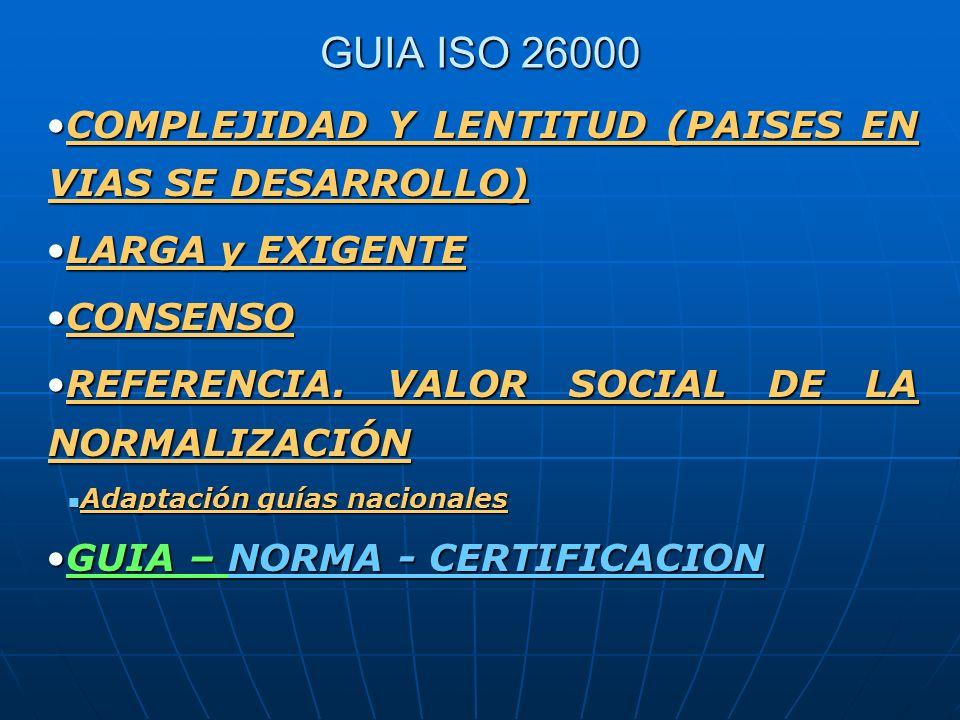 GUIA ISO 26000 COMPLEJIDAD Y LENTITUD (PAISES EN VIAS SE DESARROLLO)COMPLEJIDAD Y LENTITUD (PAISES EN VIAS SE DESARROLLO) LARGA y EXIGENTELARGA y EXIG
