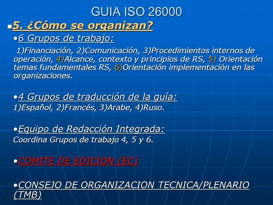GUIA ISO 26000 5. ¿Cómo se organizan? 5. ¿Cómo se organizan? 6 Grupos de trabajo:6 Grupos de trabajo: 1)Financiación, 2)Comunicación, 3)Procedimientos