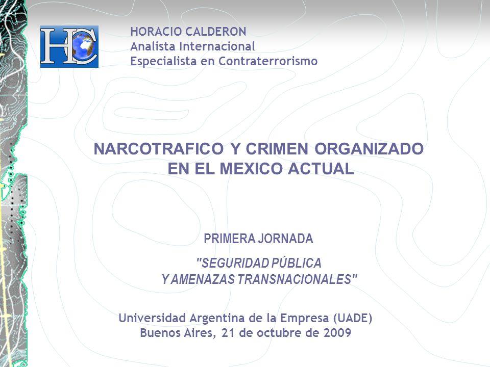 Universidad Argentina de la Empresa (UADE) Buenos Aires, 21 de octubre de 2009 HORACIO CALDERON Analista Internacional Especialista en Contraterrorismo NARCOTRAFICO Y CRIMEN ORGANIZADO EN EL MEXICO ACTUAL PRIMERA JORNADA SEGURIDAD PÚBLICA Y AMENAZAS TRANSNACIONALES