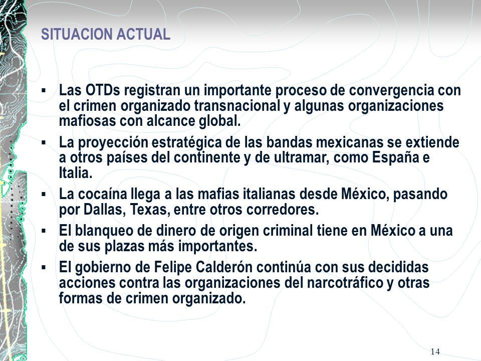 14 SITUACION ACTUAL Las OTDs registran un importante proceso de convergencia con el crimen organizado transnacional y algunas organizaciones mafiosas