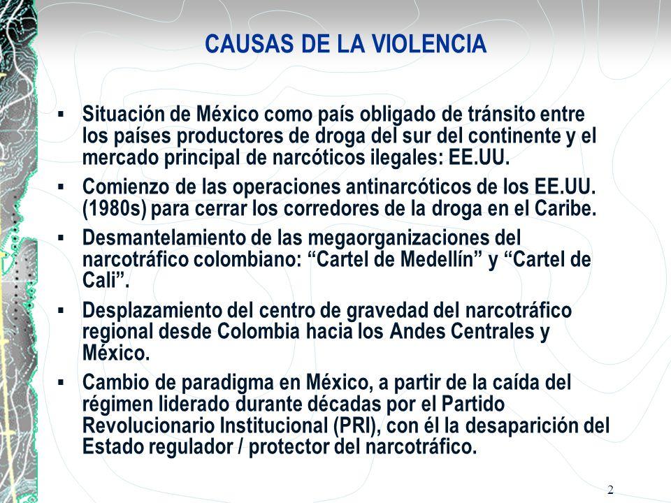 2 CAUSAS DE LA VIOLENCIA Situación de México como país obligado de tránsito entre los países productores de droga del sur del continente y el mercado
