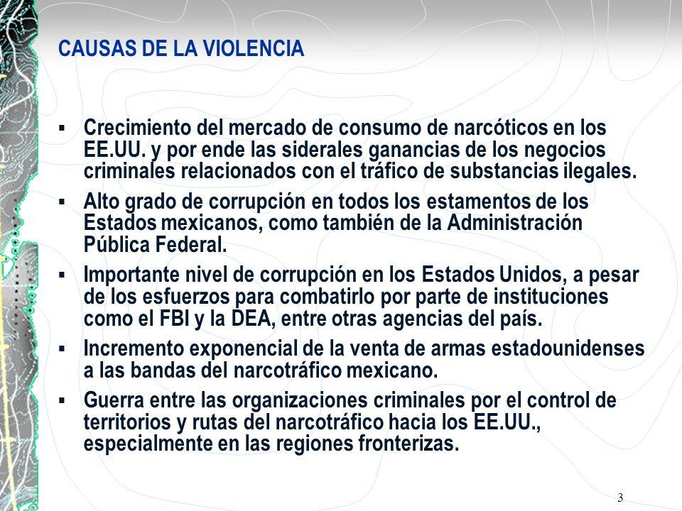 3 CAUSAS DE LA VIOLENCIA Crecimiento del mercado de consumo de narcóticos en los EE.UU. y por ende las siderales ganancias de los negocios criminales