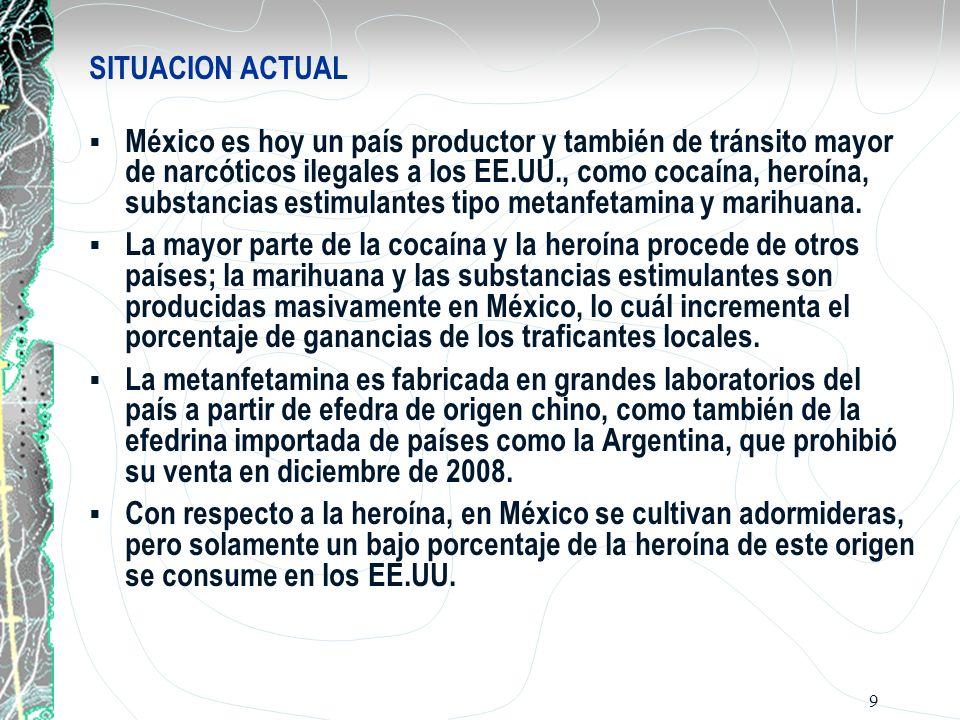 9 SITUACION ACTUAL México es hoy un país productor y también de tránsito mayor de narcóticos ilegales a los EE.UU., como cocaína, heroína, substancias estimulantes tipo metanfetamina y marihuana.
