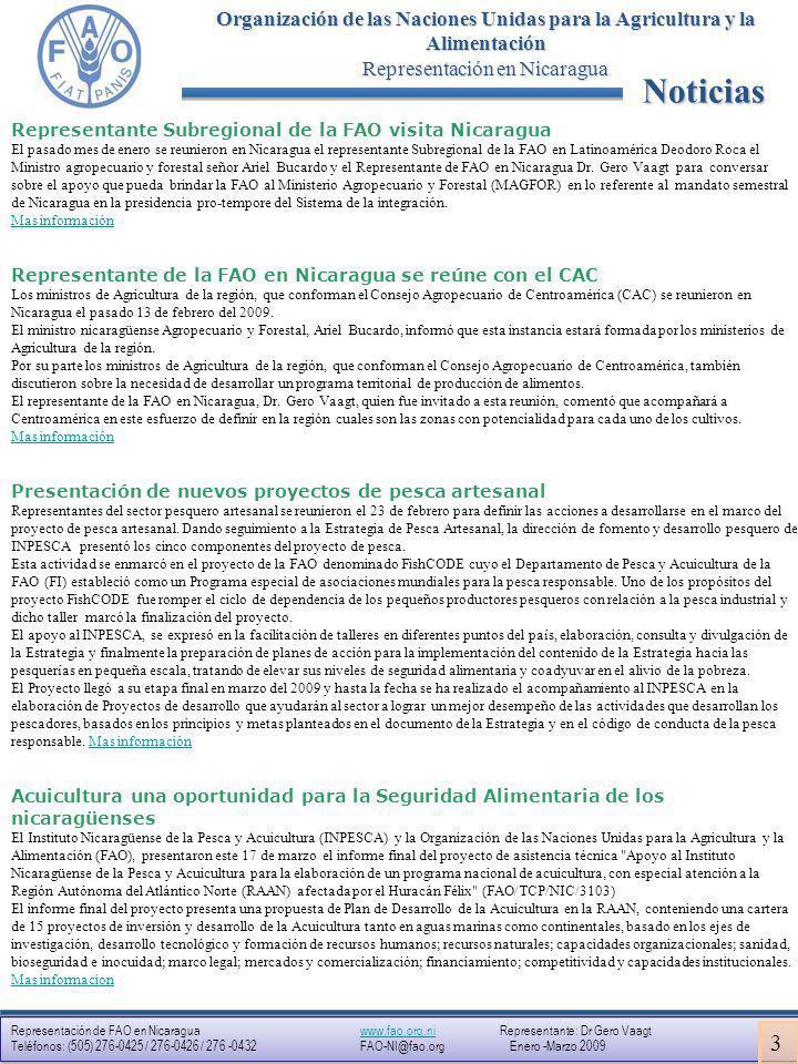 Representación de FAO en Nicaragua www.fao.org.ni Representante: Dr Gero Vaagtwww.fao.org.ni Teléfonos: (505) 276-0425 / 276-0426 / 276 -0432 FAO-NI@fao.org Enero -Marzo 2009 Representación de FAO en Nicaragua www.fao.org.ni Representante: Dr Gero Vaagtwww.fao.org.ni Teléfonos: (505) 276-0425 / 276-0426 / 276 -0432 FAO-NI@fao.org Enero -Marzo 2009 Organización de las Naciones Unidas para la Agricultura y la Alimentación Representación en Nicaragua A fondo ¿Cómo y por qué surgió este proyecto.