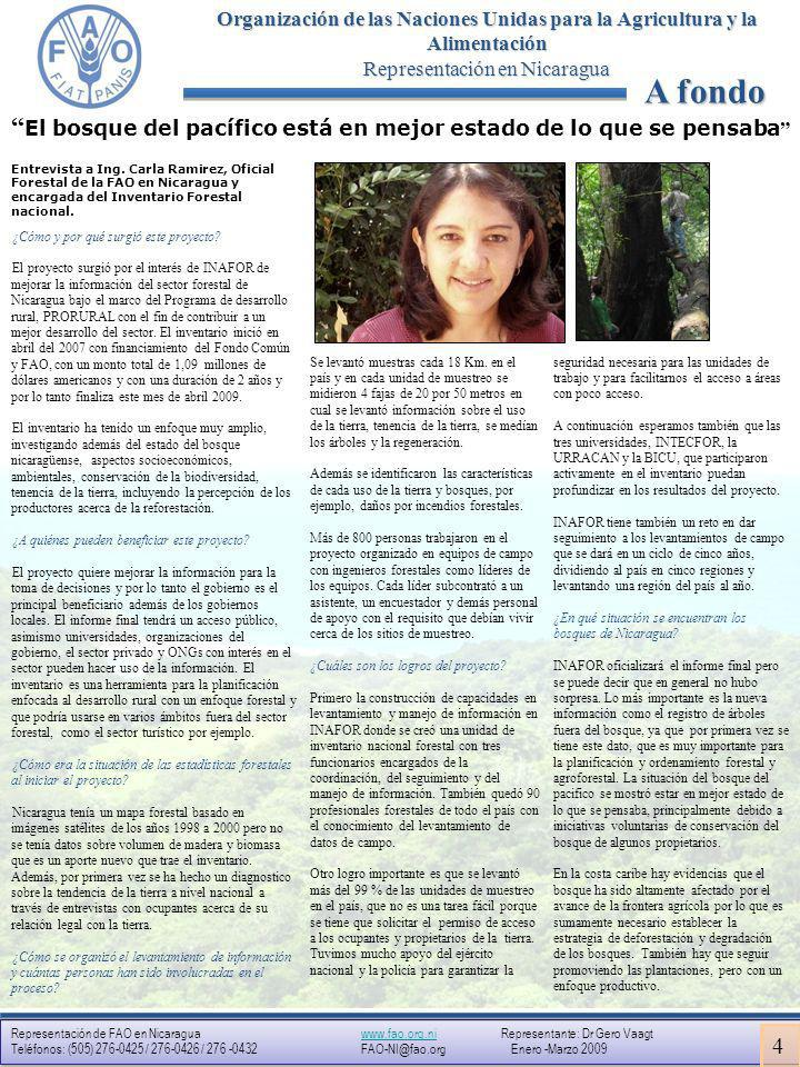 Representación de FAO en Nicaragua www.fao.org.ni Representante: Dr Gero Vaagtwww.fao.org.ni Teléfonos: (505) 276-0425 / 276-0426 / 276 -0432 FAO-NI@fao.org Enero -Marzo 2009 Representación de FAO en Nicaragua www.fao.org.ni Representante: Dr Gero Vaagtwww.fao.org.ni Teléfonos: (505) 276-0425 / 276-0426 / 276 -0432 FAO-NI@fao.org Enero -Marzo 2009 Organización de las Naciones Unidas para la Agricultura y la Alimentación Representación en Nicaragua Próximo INTA y FAO organizan feria en Waspam El Instituto Nicaragüense de Tecnología Agropecuaria y la FAO Nicaragua organizarán el próximo mes de mayo una feria sobre la transferencia y la adopción de tecnologías productivas agropecuarias en Waspam.