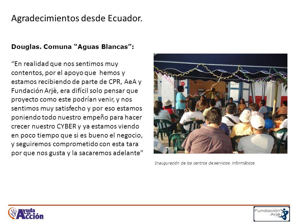 Agradecimientos desde Ecuador. Douglas.