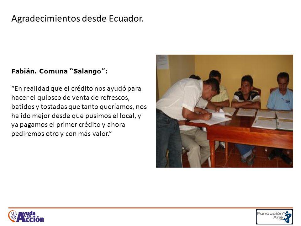 Agradecimientos desde Ecuador. Fabián.
