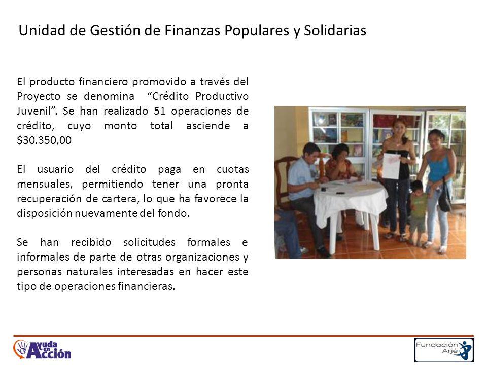 Unidad de Gestión de Finanzas Populares y Solidarias El producto financiero promovido a través del Proyecto se denomina Crédito Productivo Juvenil.