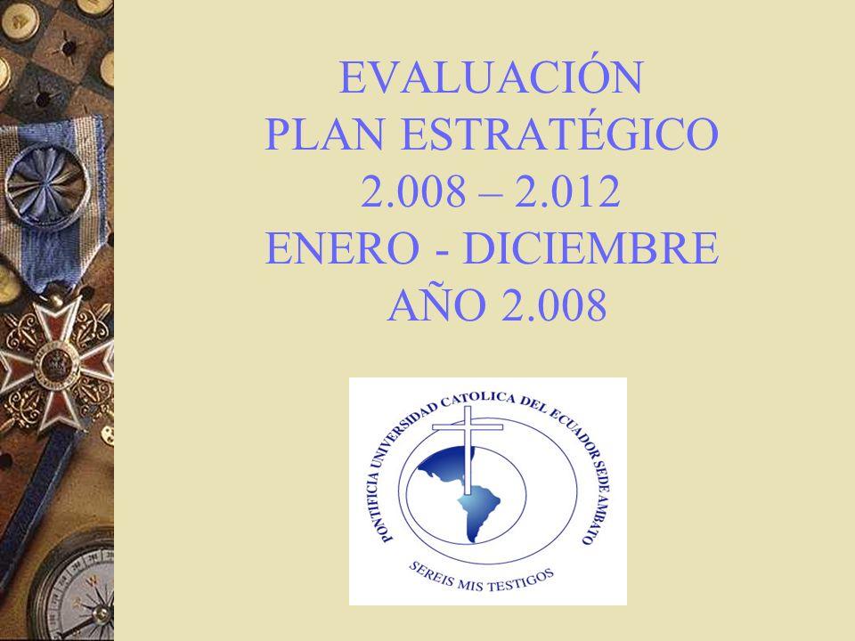 EVALUACIÓN PLAN ESTRATÉGICO 2.008 – 2.012 ENERO - DICIEMBRE AÑO 2.008