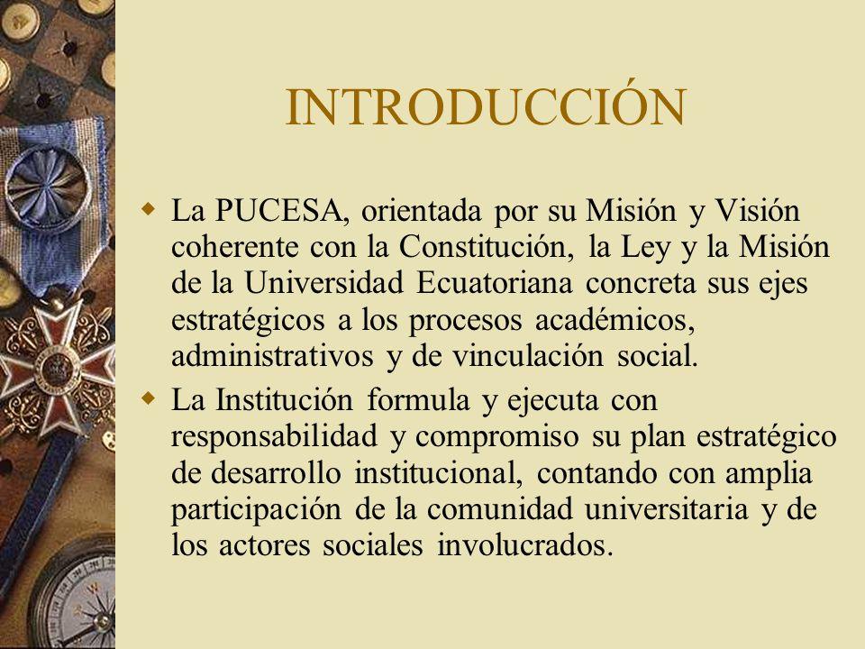 INTRODUCCIÓN La PUCESA, orientada por su Misión y Visión coherente con la Constitución, la Ley y la Misión de la Universidad Ecuatoriana concreta sus ejes estratégicos a los procesos académicos, administrativos y de vinculación social.