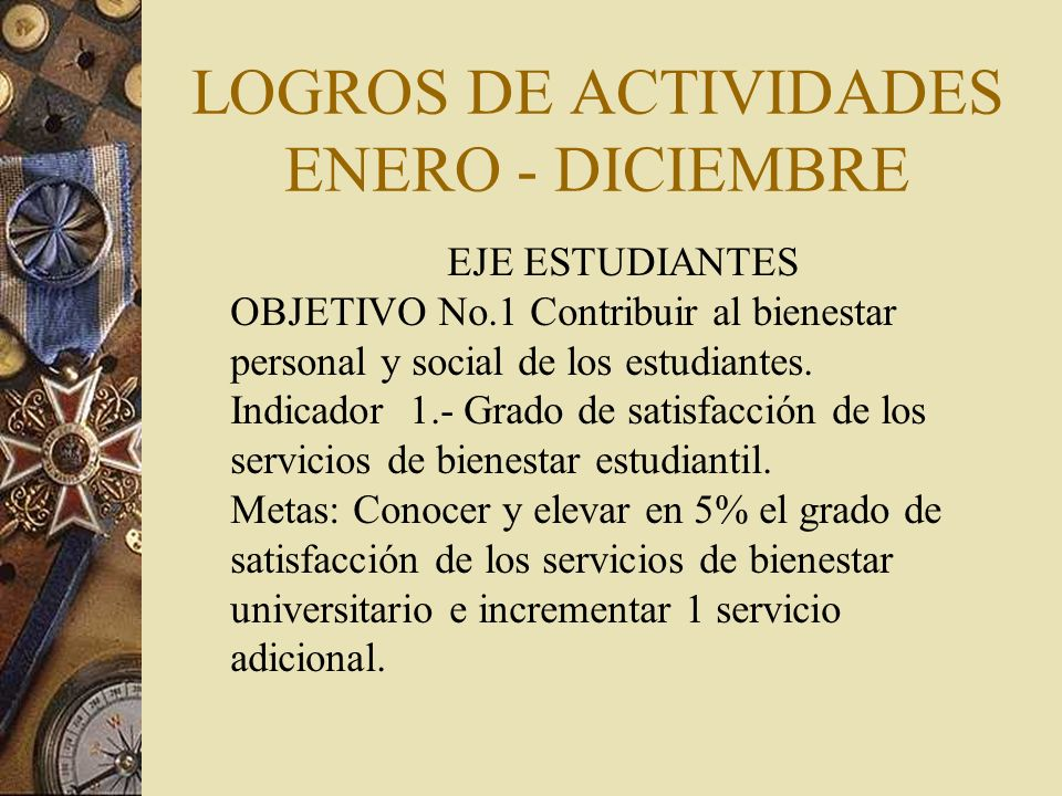 LOGROS DE ACTIVIDADES ENERO - DICIEMBRE EJE ESTUDIANTES OBJETIVO No.1 Contribuir al bienestar personal y social de los estudiantes.