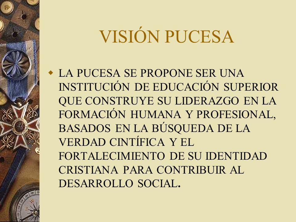 VISIÓN PUCESA LA PUCESA SE PROPONE SER UNA INSTITUCIÓN DE EDUCACIÓN SUPERIOR QUE CONSTRUYE SU LIDERAZGO EN LA FORMACIÓN HUMANA Y PROFESIONAL, BASADOS EN LA BÚSQUEDA DE LA VERDAD CINTÍFICA Y EL FORTALECIMIENTO DE SU IDENTIDAD CRISTIANA PARA CONTRIBUIR AL DESARROLLO SOCIAL.