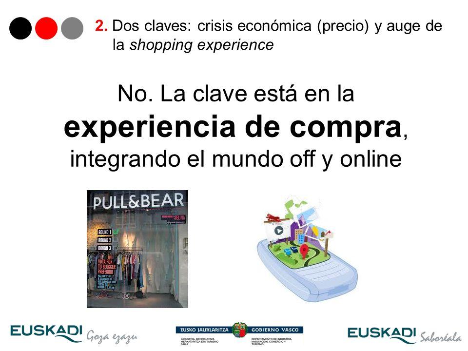 16 2. Dos claves: crisis económica (precio) y auge de la shopping experience No. La clave está en la experiencia de compra, integrando el mundo off y