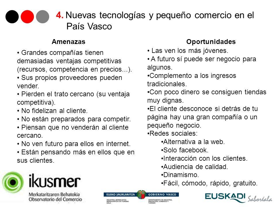21 4. Nuevas tecnologías y pequeño comercio en el País Vasco Grandes compañías tienen demasiadas ventajas competitivas (recursos, competencia en preci