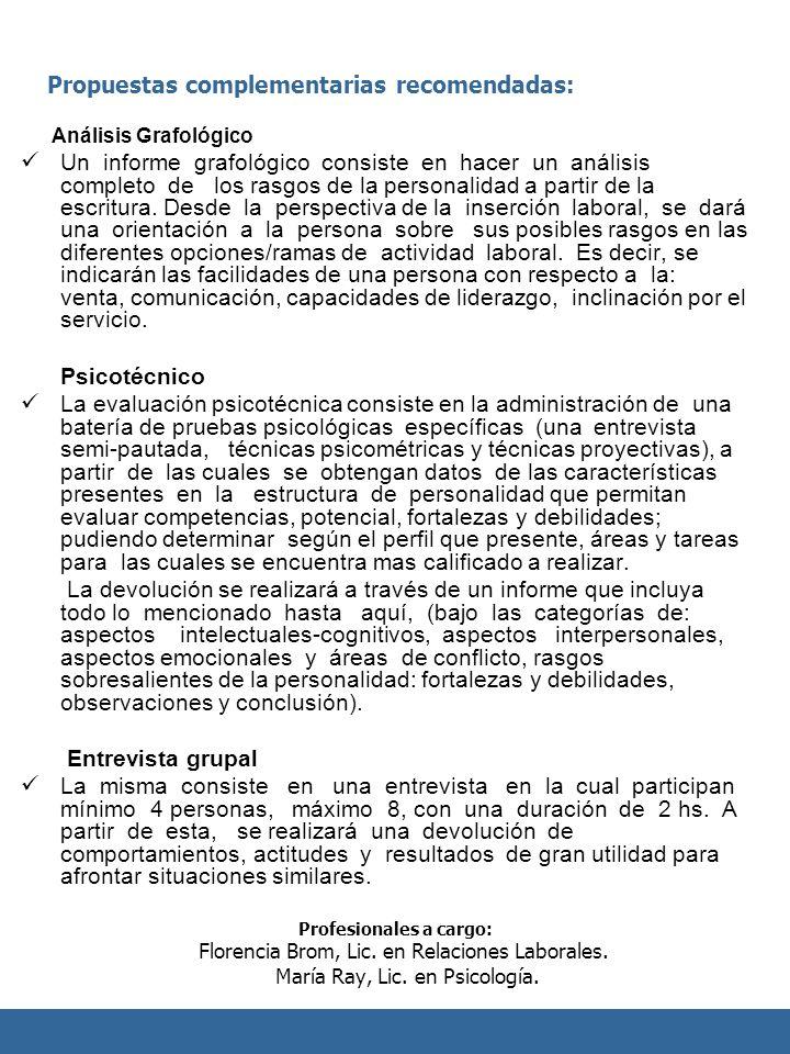 Propuestas complementarias recomendadas: Análisis Grafológico Un informe grafológico consiste en hacer un análisis completo de los rasgos de la person