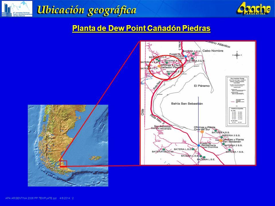 APA ARGENTINA 2006 PP TEMPLATE.ppt 4/6/2014 3 A R G E N T I N A Situación inicial Red de captación Baja Presión 480.000 SCMD Planta de Dew Point Cañadón Piedras Antigüedad: 28 años, fue una de las primeras plantas en la isla.