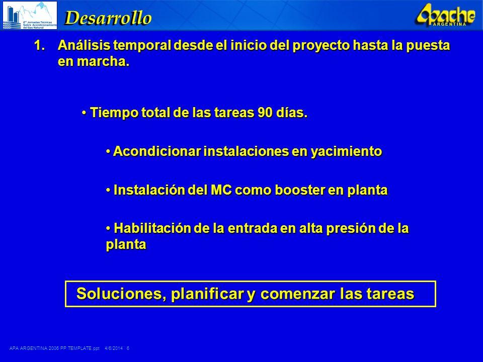 APA ARGENTINA 2006 PP TEMPLATE.ppt 4/6/2014 7 A R G E N T I N A Desarrollo 2.Instalaciones de superficie en locación de los pozos y sistema de transporte Caudal aprox.