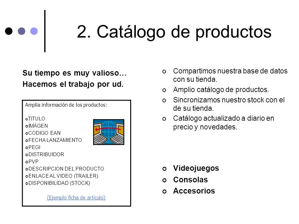 2. Catálogo de productos Su tiempo es muy valioso… Hacemos el trabajo por ud. Compartimos nuestra base de datos con su tienda. Amplio catálogo de prod