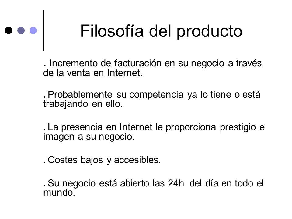 Filosofía del producto. Incremento de facturación en su negocio a través de la venta en Internet.. Probablemente su competencia ya lo tiene o está tra
