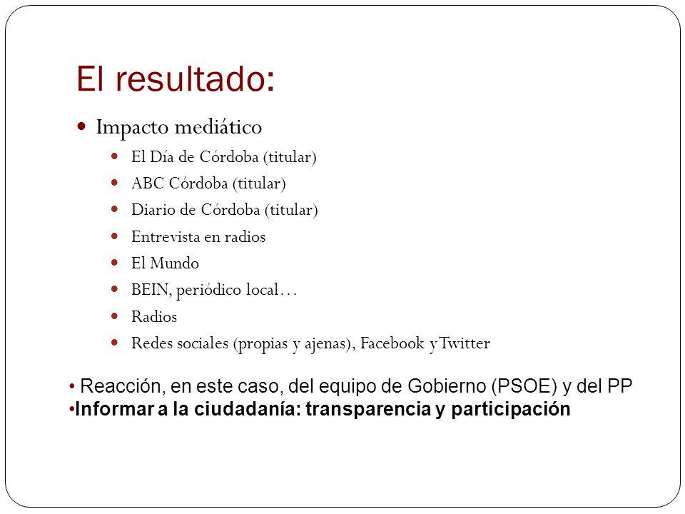 El resultado: Impacto mediático El Día de Córdoba (titular) ABC Córdoba (titular) Diario de Córdoba (titular) Entrevista en radios El Mundo BEIN, peri