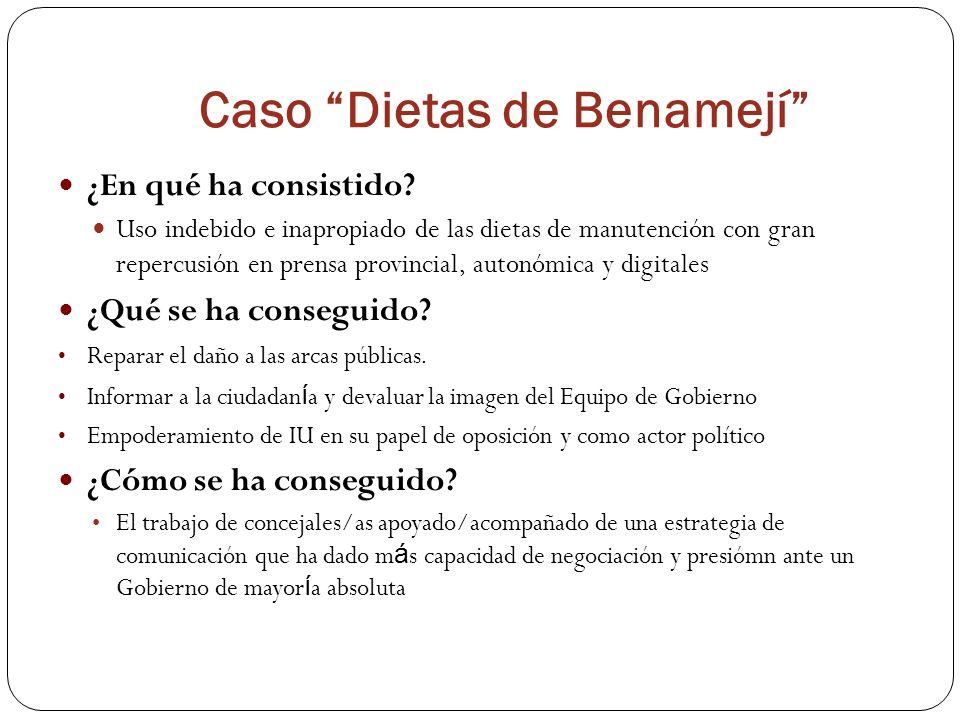 Caso Dietas de Benamejí ¿En qué ha consistido? Uso indebido e inapropiado de las dietas de manutención con gran repercusión en prensa provincial, auto
