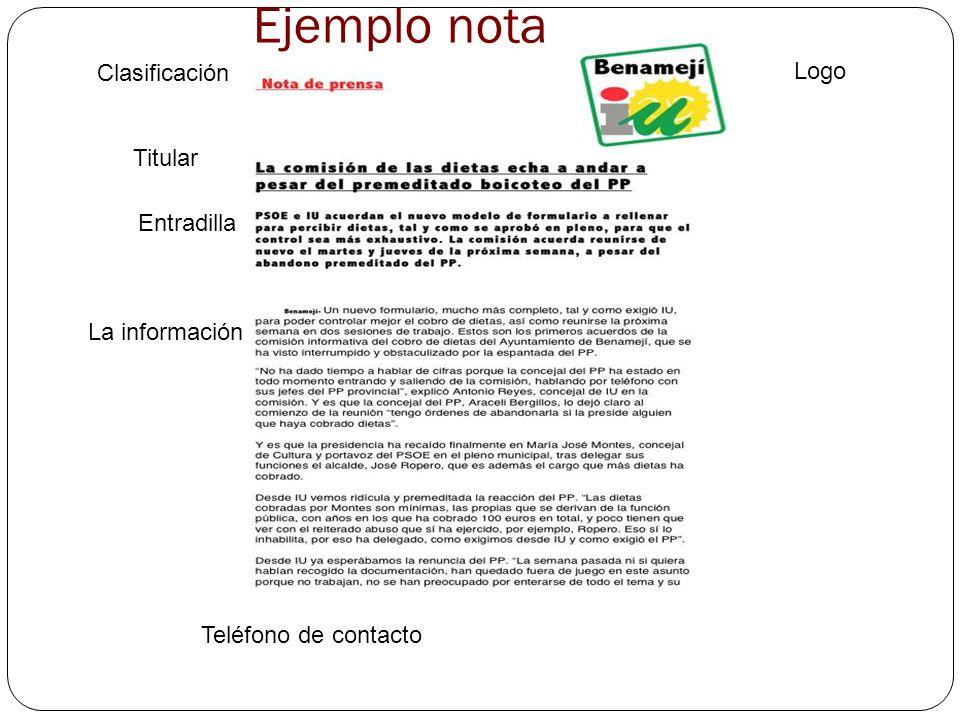 Logo Clasificación Titular Entradilla La información Teléfono de contacto Ejemplo nota