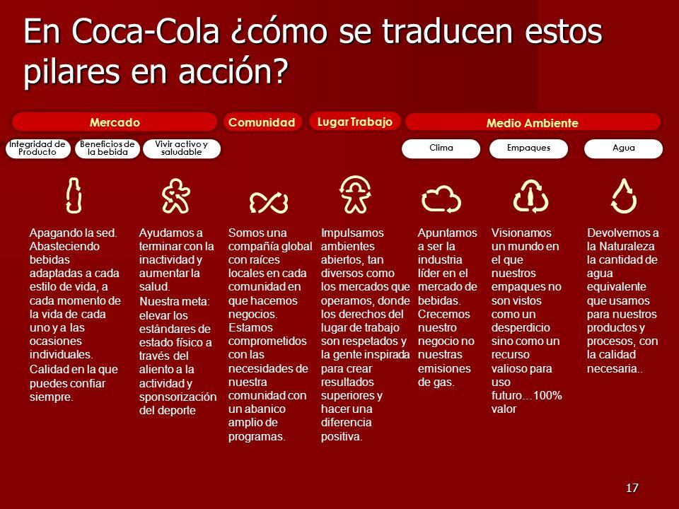 17 En Coca-Cola ¿cómo se traducen estos pilares en acción? Somos una compañía global con raíces locales en cada comunidad en que hacemos negocios. Est