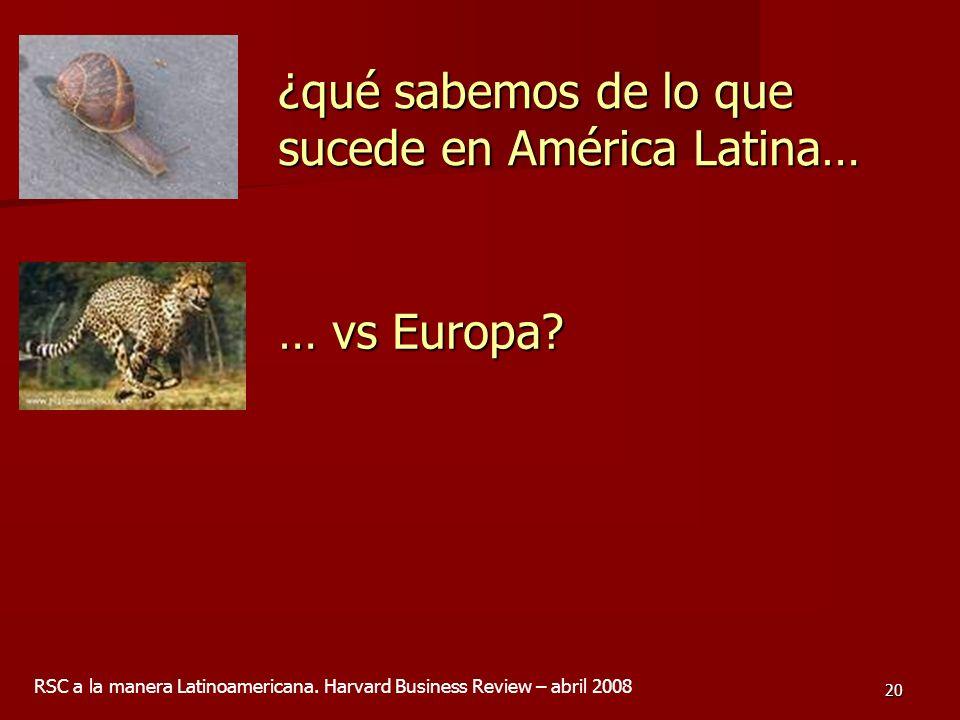 20 ¿qué sabemos de lo que sucede en América Latina… … vs Europa? RSC a la manera Latinoamericana. Harvard Business Review – abril 2008