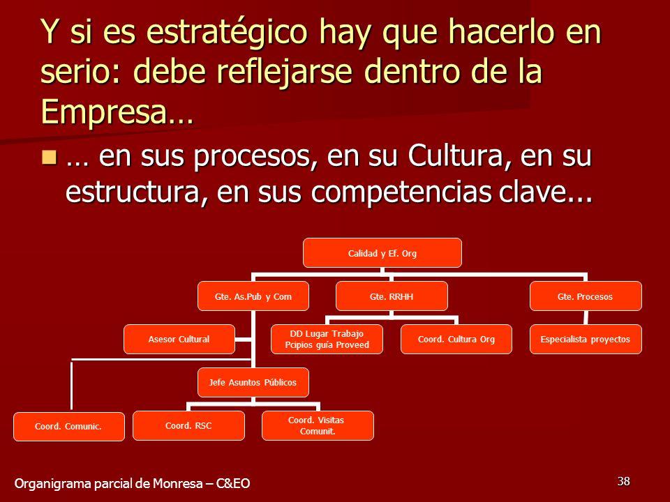 38 Y si es estratégico hay que hacerlo en serio: debe reflejarse dentro de la Empresa… … en sus procesos, en su Cultura, en su estructura, en sus comp
