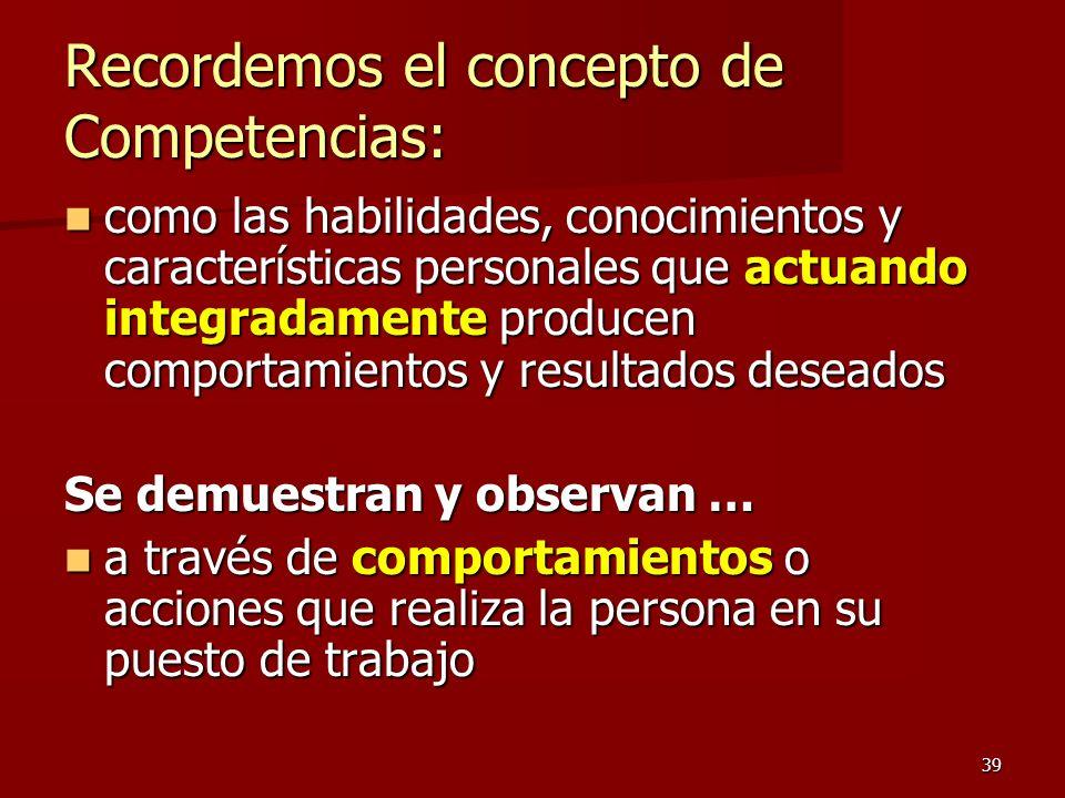 39 Recordemos el concepto de Competencias: como las habilidades, conocimientos y características personales que actuando integradamente producen compo