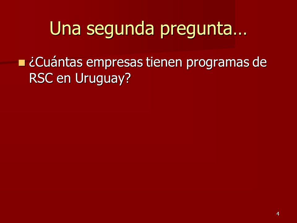 4 Una segunda pregunta… ¿Cuántas empresas tienen programas de RSC en Uruguay? ¿Cuántas empresas tienen programas de RSC en Uruguay?