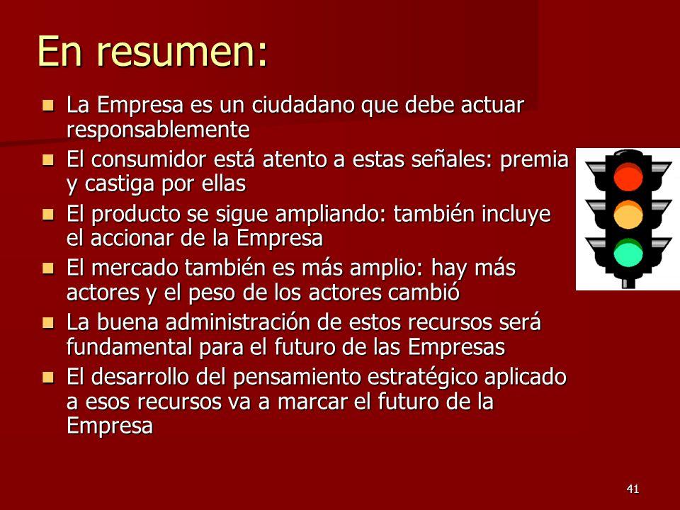 41 En resumen: La Empresa es un ciudadano que debe actuar responsablemente La Empresa es un ciudadano que debe actuar responsablemente El consumidor e