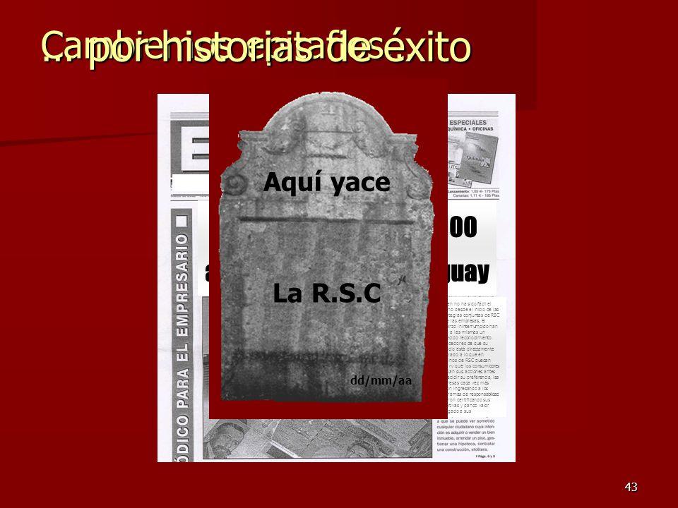 43 Cambiemos epitafios… … por historias de éxito Se celebran hoy los 100 años de la RSC en Uruguay Si bien no ha sido fácil el camino desde el inicio