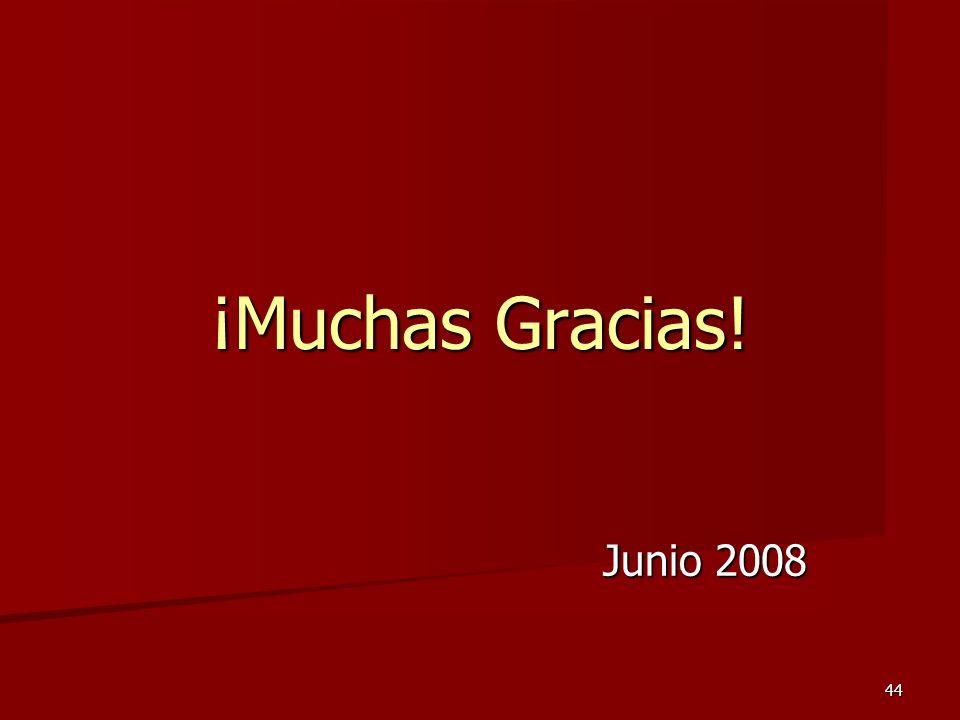 44 ¡Muchas Gracias! Junio 2008