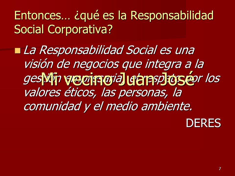 7 Entonces… ¿qué es la Responsabilidad Social Corporativa? La Responsabilidad Social es una visión de negocios que integra a la gestión empresaria, el