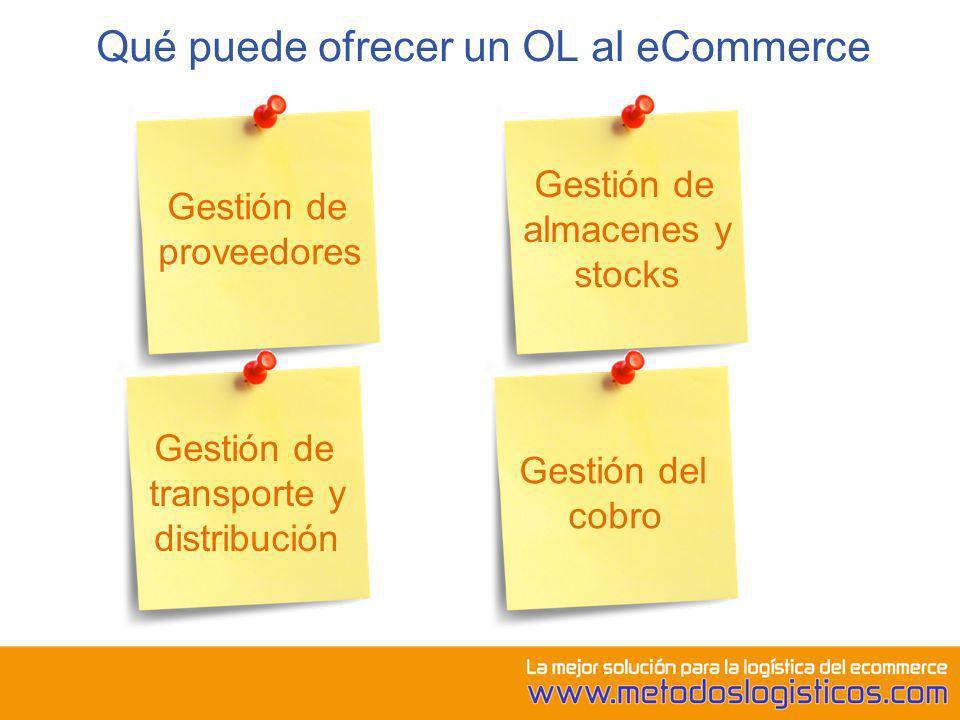 Qué puede ofrecer un OL al eCommerce Gestión de proveedores Gestión de almacenes y stocks Gestión de transporte y distribución Gestión del cobro