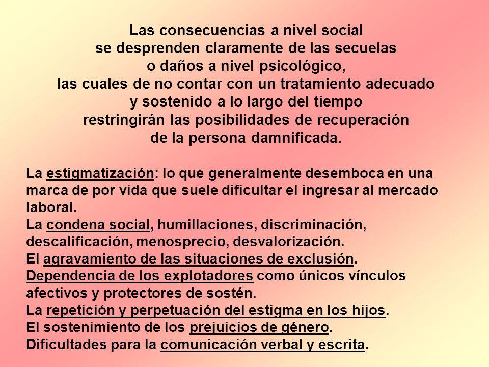 Las consecuencias a nivel social se desprenden claramente de las secuelas o daños a nivel psicológico, las cuales de no contar con un tratamiento adec
