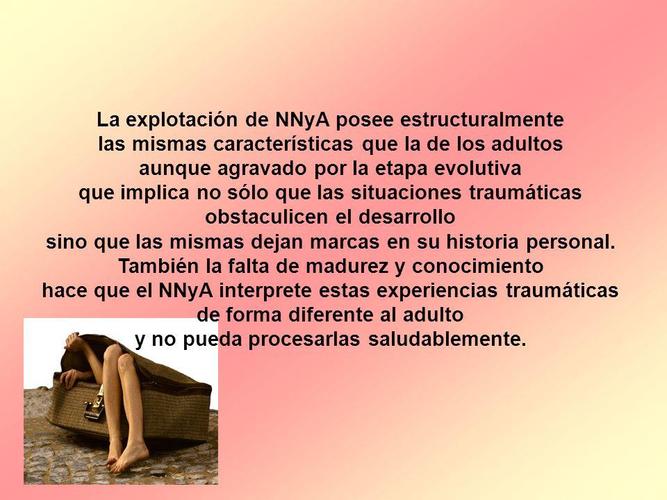 La explotación de NNyA posee estructuralmente las mismas características que la de los adultos aunque agravado por la etapa evolutiva que implica no s