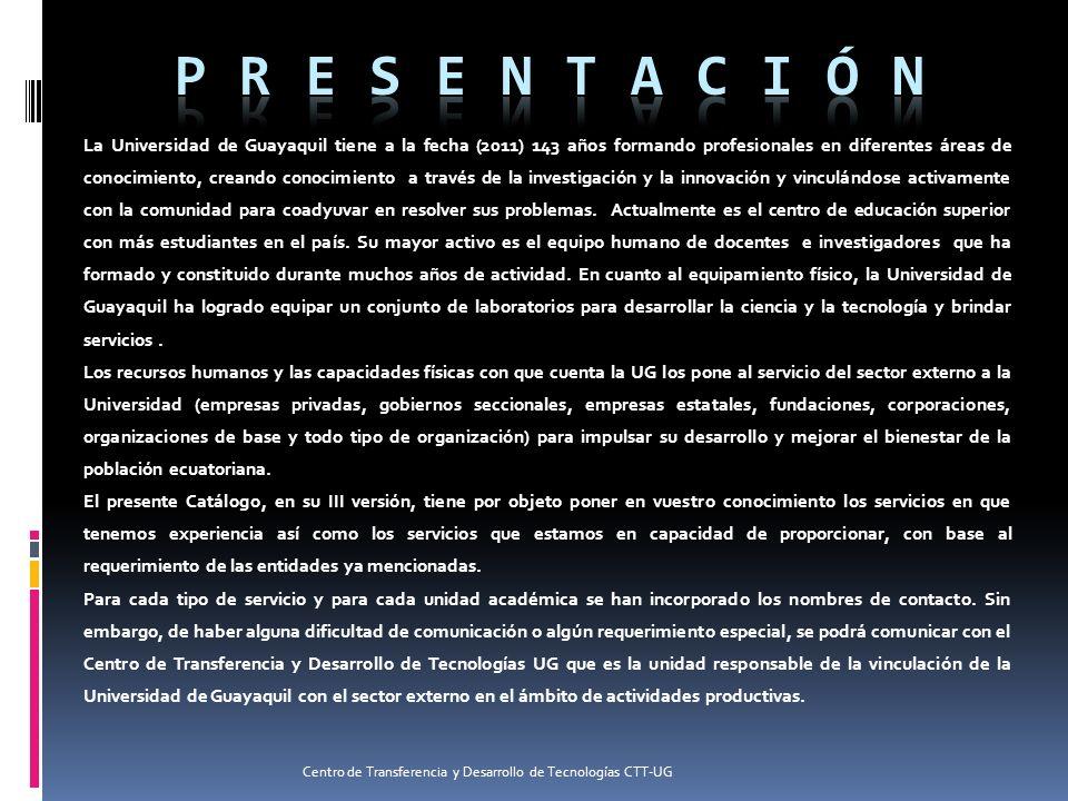 La Universidad de Guayaquil tiene a la fecha (2011) 143 años formando profesionales en diferentes áreas de conocimiento, creando conocimiento a través